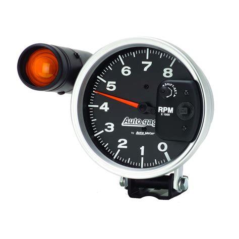 autometer tach with shift light 5 quot pedestal tachometer 0 8 000 rpm shift light black