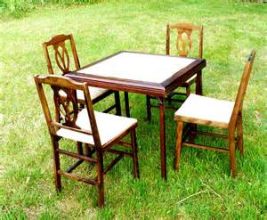 folding card table set w 4 chairs legomatic mid century