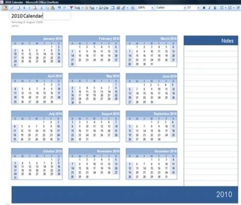 Word Vorlage In Onenote Onenote Kalender 2010 Mit Platz F 252 R Notizen