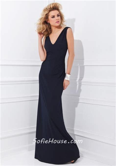 Jc Longdress V Back 132 simple sheath v neck open back black jersey formal occasion evening dress