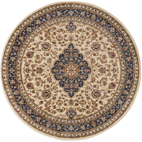 round accent rug tayse rugs sensation beige 5 ft 3 in round traditional
