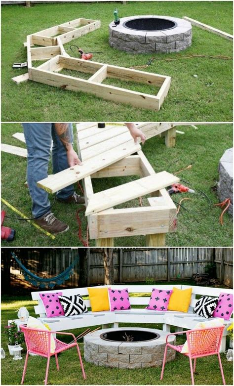 bench on fire diy circle bench around your fire pit garden pallet