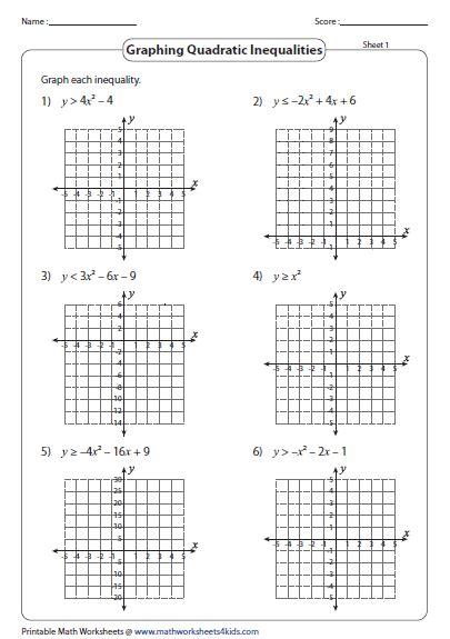 Quadratic Inequalities Worksheet by Quadratic Inequalities Worksheets