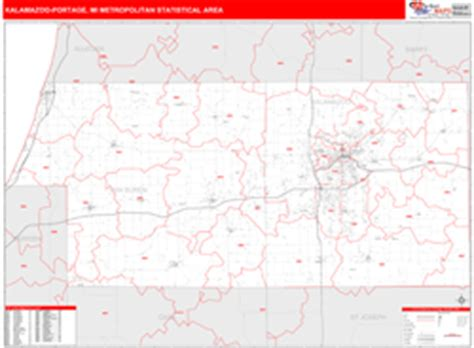 zip code map kalamazoo county kalamazoo portage mi metro area wall map red line style