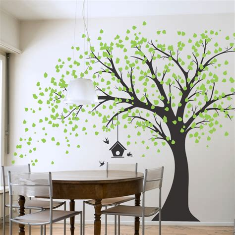 big wall stickers large windy tree with birdhouse wall decal