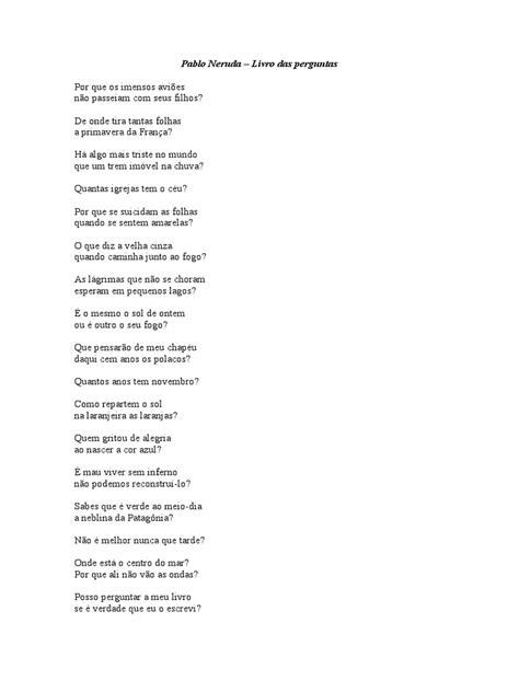 Pablo Neruda Livro Das Perguntas