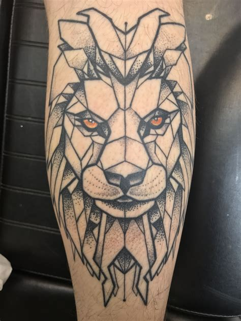 lion geometric tattoo geometric on my calf leg s