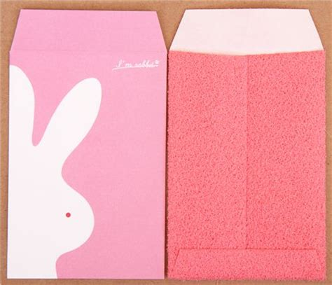 Set Import Bunny pink plush rabbit mini envelope set from japan letter