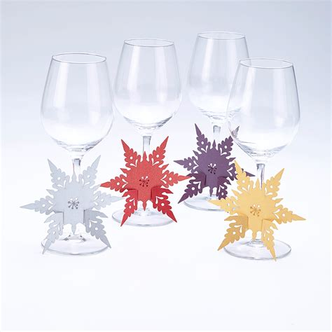 laser cut snowflake glass stem decorations