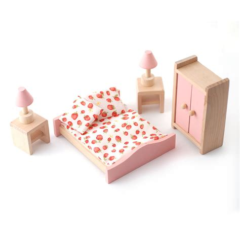 wooden dolls house furniture set dcf010 wooden dolls house furniture bedroom set pink minimum world