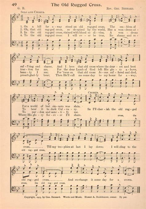 hymn the rugged cross the rugged cross vintage hymn sheet 1920s