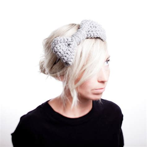 knitted headband with bow knitted bow headband by eka notonthehighstreet