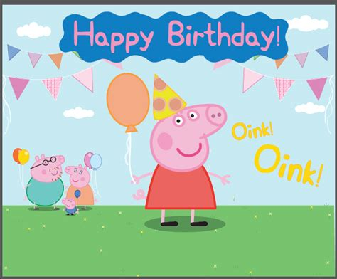 Peppa Pig Flag Birthday 7x5ft balloons flags happy birthday pig oink grass