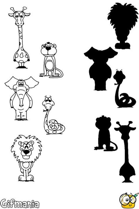 printable zoo animal silhouettes match these animals with their silhouettes activitypages
