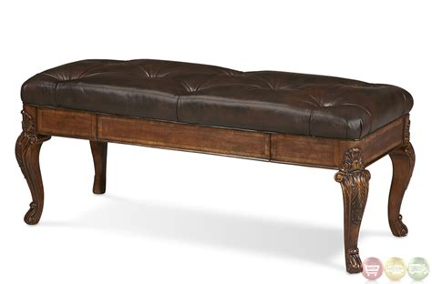 leather upholstered bench old world upholstered seat leather storage bench