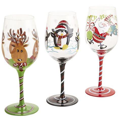 christmas barware christmas wine glasses hand painted wine glasses pinterest