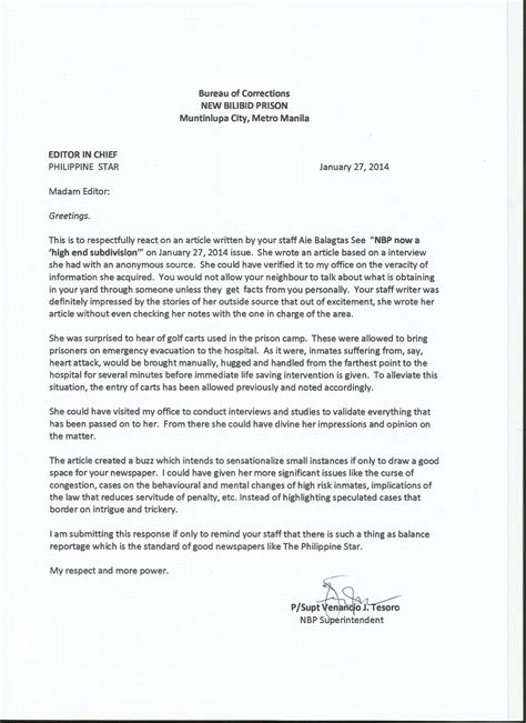 layout of a letter to an editor letter to philippine star editor prison watch