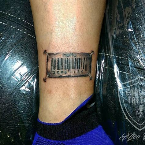 barcode tattoo on ankle realistic 3d barcode tattoo creativefan