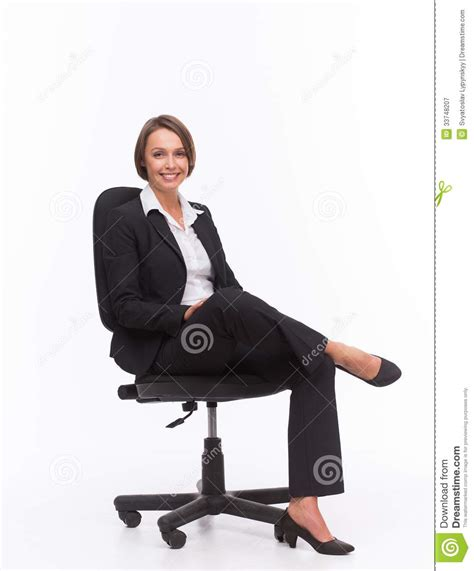 White Sitting Chair Businesswoman Sit On Chair Royalty Free Stock Photography