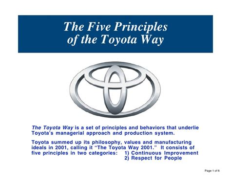 The Toyota Way Pdf The Five Principles Of The Toyota Way