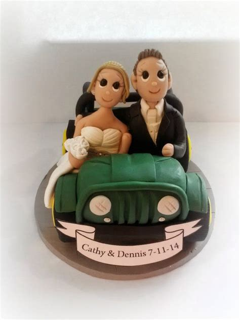 jeep cake topper custom jeep wedding cake topper with banner custom jeep
