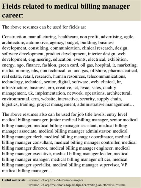 top 8 medical billing manager resume sles