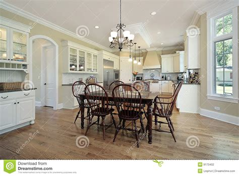 eating area kitchen with eating area and island stock photography