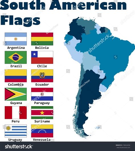 south america map with flags south american flag set alphabetical order stock vector