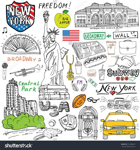 doodle central new york city doodles elements stock vector 316388819