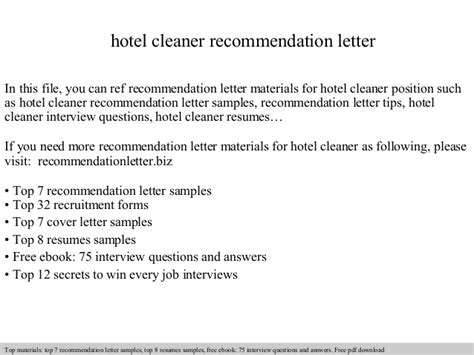 Reference Letter For Employee Cleaner Hotel Cleaner Recommendation Letter