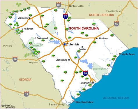 map of carolina state parks carolina south state parks pictures news information
