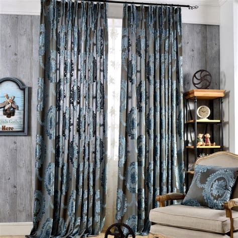 best curtains online best gray blue damask polyester vintage insulated curtains