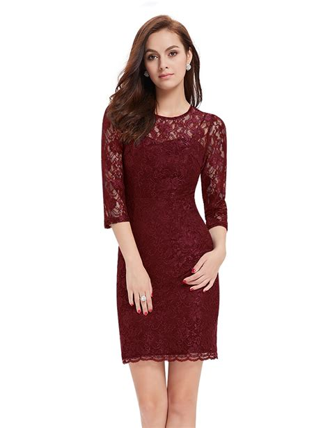 Lace 3 4 Sleeve Evening Gown pretty lace evening dresses cocktail 3 4 sleeve