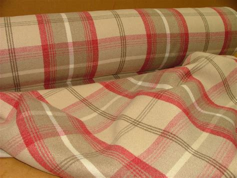 tartan curtain fabric uk balmoral cranberry wool effect washable thick tartan