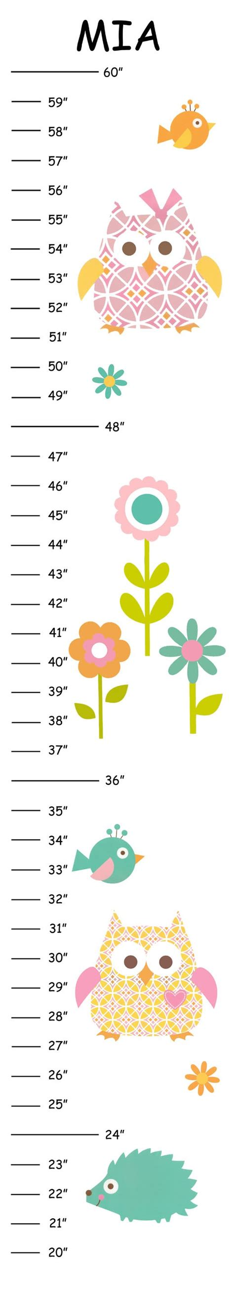 printable children s growth chart items similar to personalized happy tree owl canvas growth