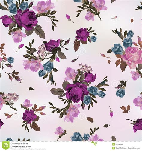 watercolor pattern with purple flowers vector free download seamless floral pattern with purple and pink roses and