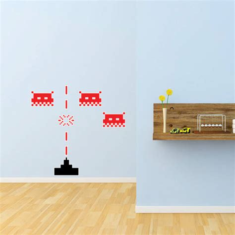 space invaders wall stickers space invaders wall stickers by the binary box notonthehighstreet
