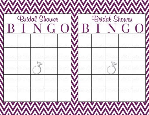 Blank Bingo Card Template For Bridal Shower by 60 Bridal Bingo Cards Blank 60 Prefilled Cards Printable