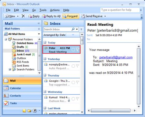 delivery read receipts confirmation in outlook for email