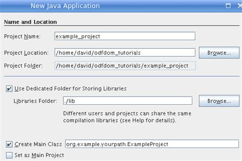 tutorial xerces java odfdom tutorials creating a netbeans project
