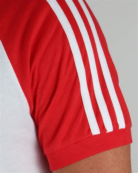 Adidas Stripe adidas originals retro 3 stripe t shirt white