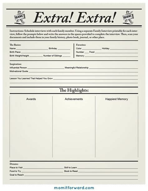 Family History Worksheet by Family History Printable