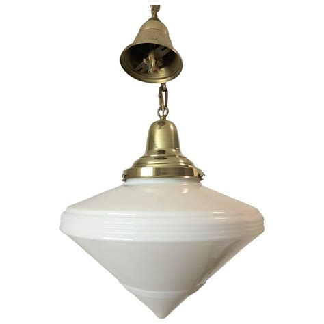 Milk Glass Pendant Light Fixtures Deco White Milk Glass Light Fixture Or Pendant Brass Canopy And Chain For Sale At