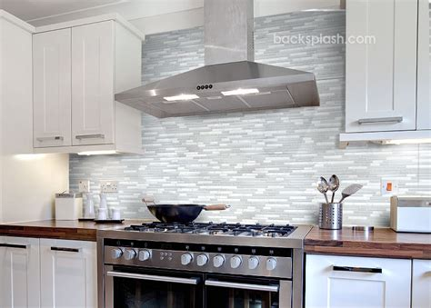 Elegant White Marble & Glass Kitchen Backsplash Tile