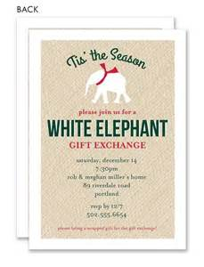White elephant gift exchange invitation