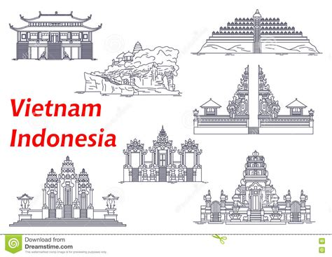 Pisau Royalty Line Di Indonesia ancient temples of indonesia and icons stock vector image 73541352