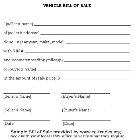 Free Printable Vehicle Bill Of Sale Template Form Generic Printable Car Bill Of Sale Template