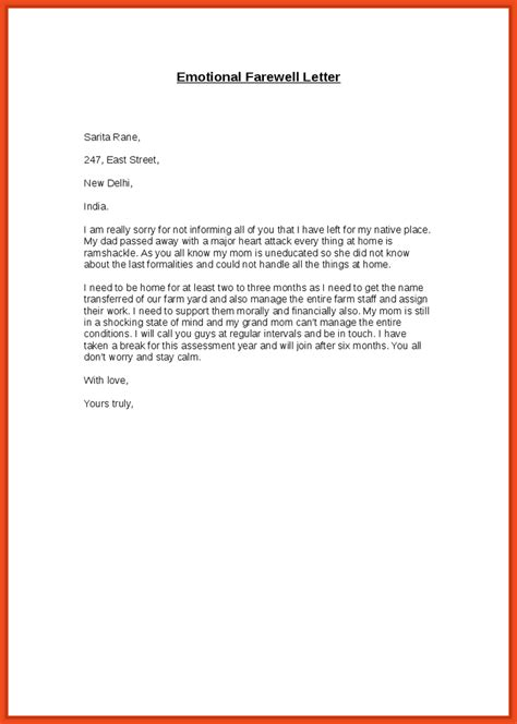 farewell letter to colleagues sop format exle