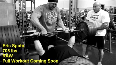 record bench press raw 705 lbs raw bench eric spoto 9 24 12 full bench workout