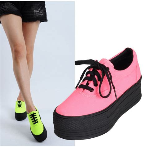 new womens low top canvas light platform sneakers